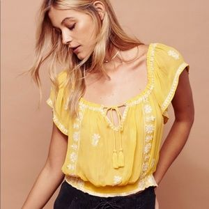 Yellow Free People Embroidered Peasant Top